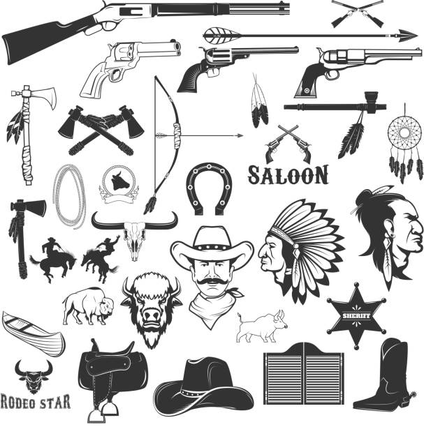 Cowboy and native american indians design elements - ilustração de arte em vetor