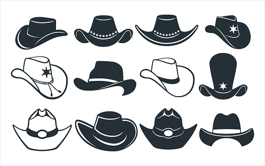 cowboy and sheriff hat vector graphic design template set for sticker, decoration, cutting and print file