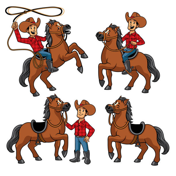 cowboy and the horse set vector of cowboy and the horse set rancher illustrations stock illustrations