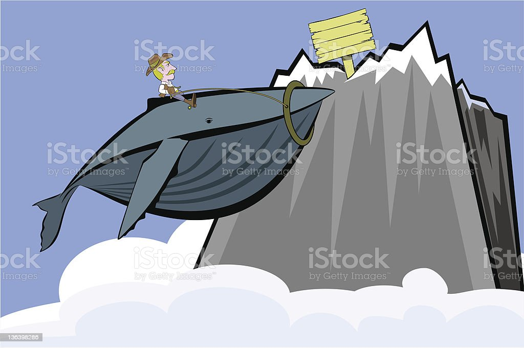 Cowboy and Whale royalty-free stock vector art