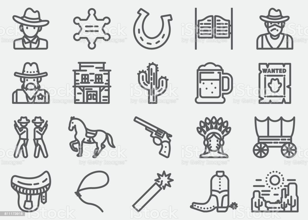 Cowboy And Wild west Line Icons vector art illustration