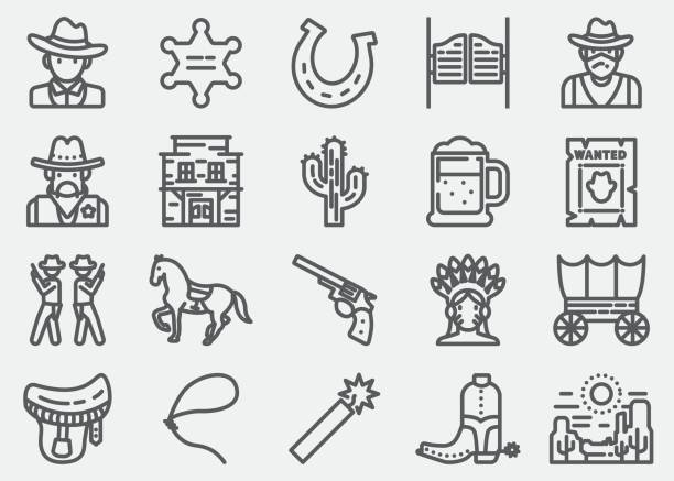 Cowboy And Wild west Line Icons Cowboy And Wild west Line Icons rancher illustrations stock illustrations