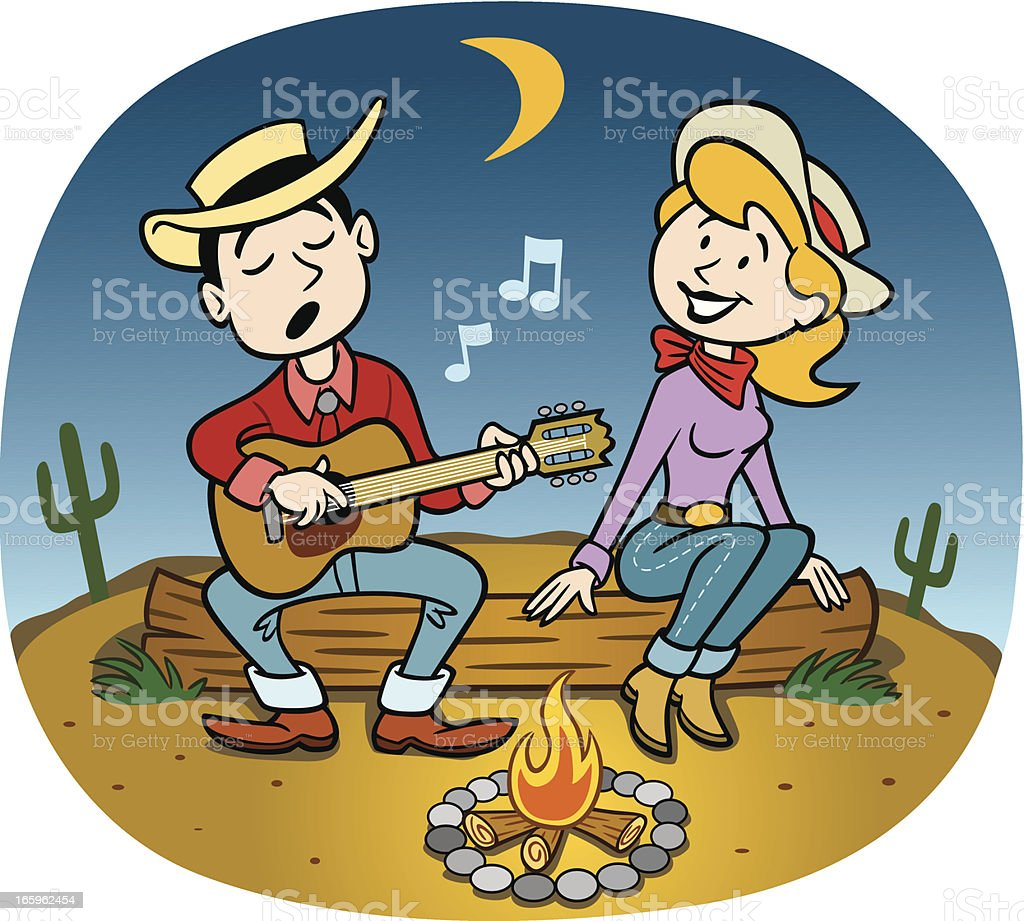cowboy at campfire with girl stock vector art more images of adult rh istockphoto com Cowboys at Campfire Cowboys around Campfire