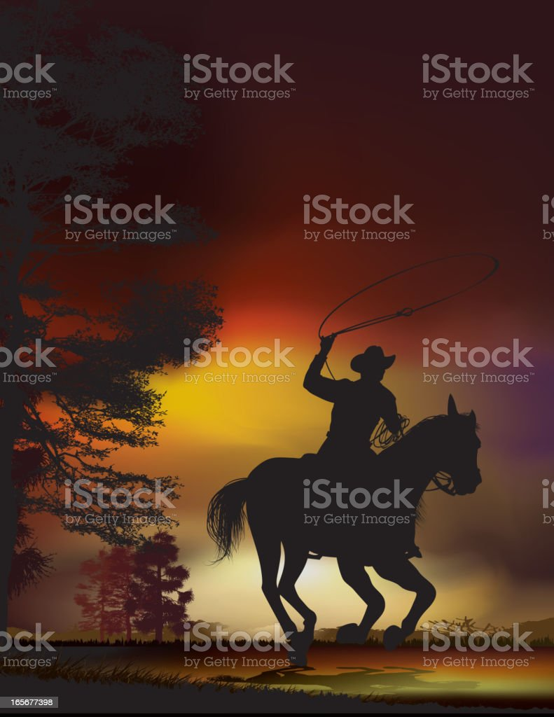Cowboy at dusk on a running horse vector art illustration