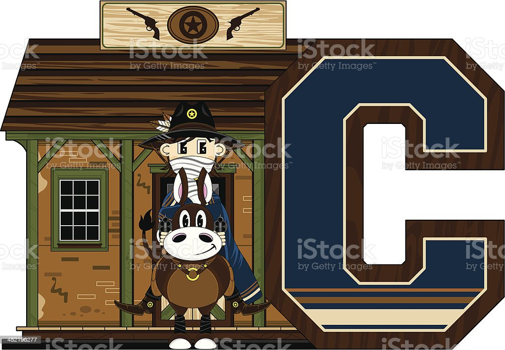 Cowboy at Jailhouse Learning Letter C royalty-free stock vector art
