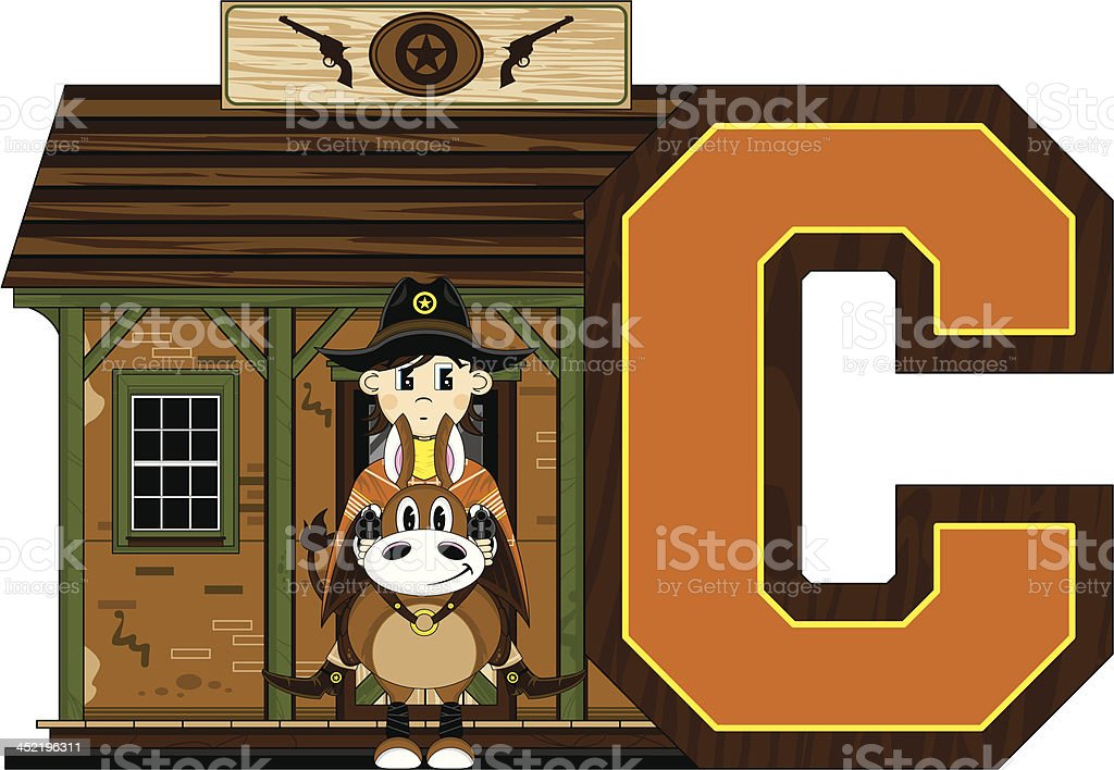 Cowboy at Jailhouse Learning Letter C royalty-free cowboy at jailhouse learning letter c stock vector art & more images of aiming