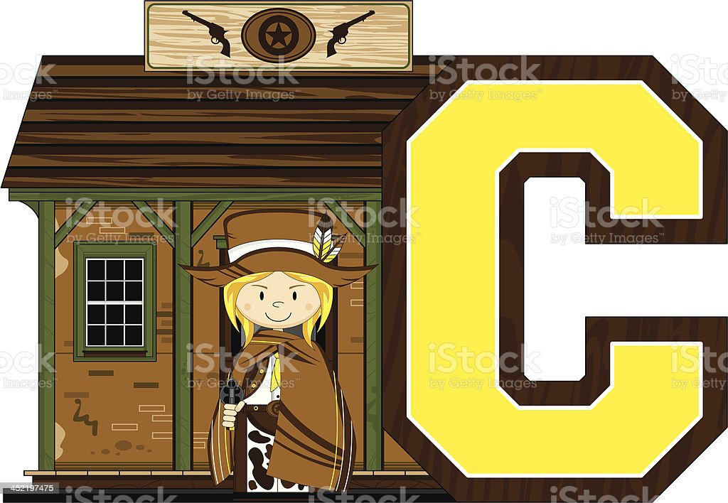 Cowboy at Jailhouse Learning Letter C royalty-free cowboy at jailhouse learning letter c stock vector art & more images of adult