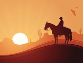 Desert cowboy background with copy space.
