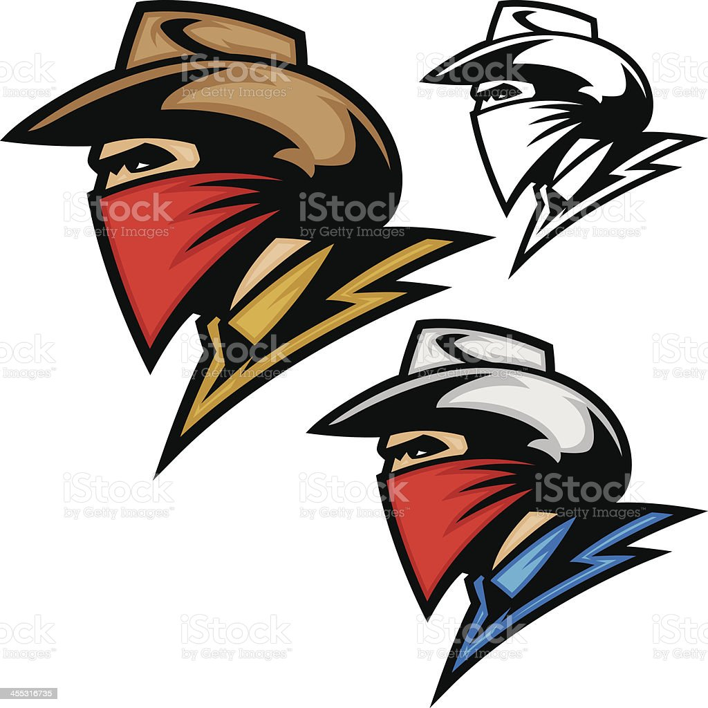 Cowboy Bandit Outlaw vector art illustration