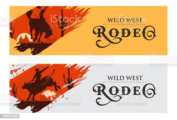 Cowboy banners rodeo cowboy riding bull and horse vector illustration vector id956833982?b=1&k=6&m=956833982&s=612x612&h=5e7fktkvh84unefydd663ttrvts ixoyaw02cuykiz8=