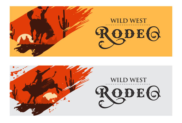 cowboy banners, rodeo cowboy riding bull and horse, vector illustration - rodeo stock illustrations, clip art, cartoons, & icons