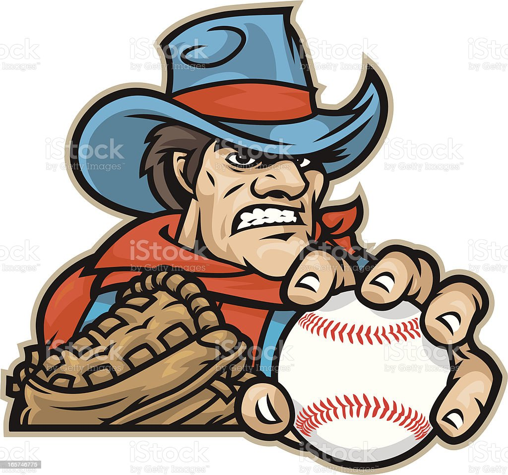 Cowboy Baseball vector art illustration
