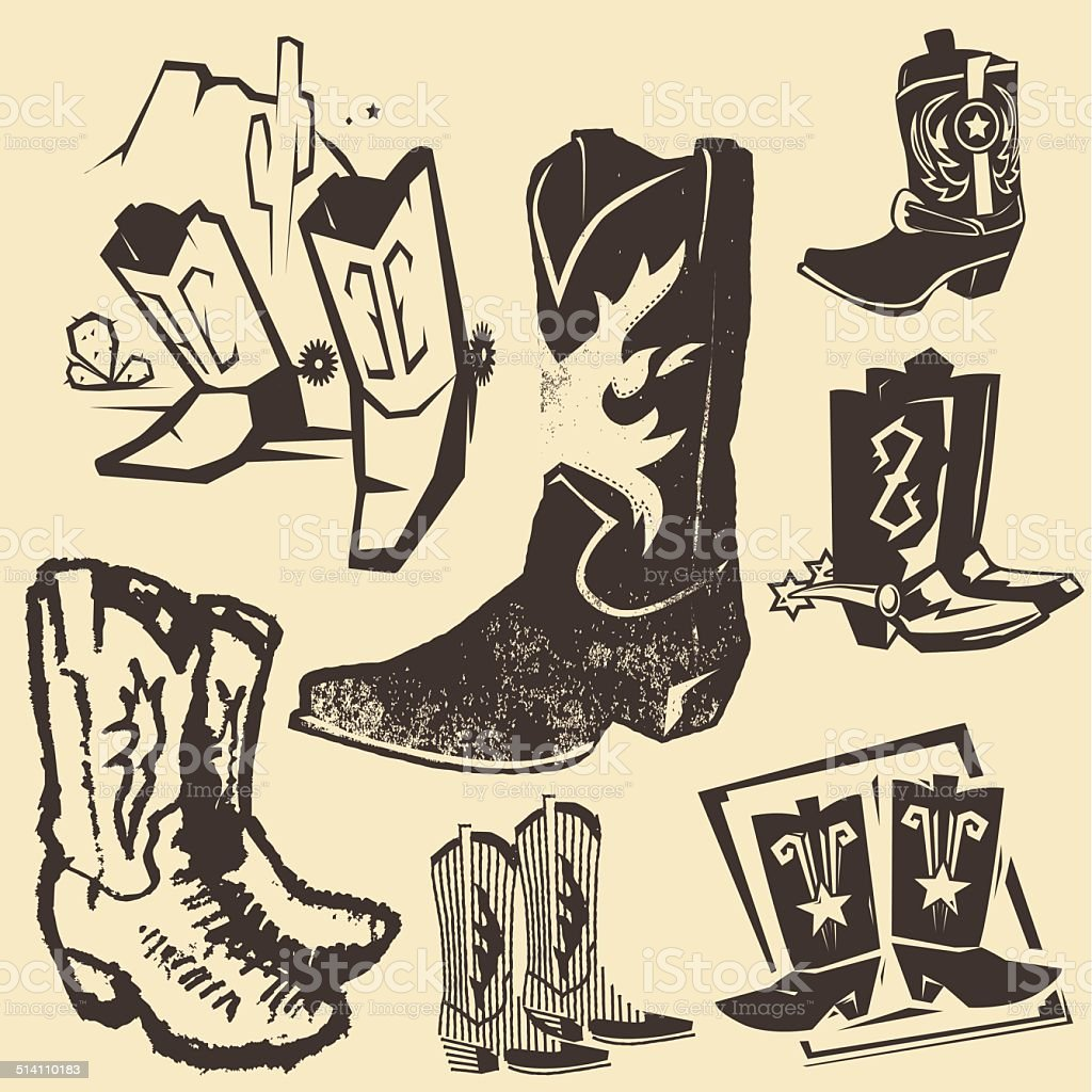 Cowboy Boot Collection vector art illustration