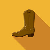 Cowboy Boot Flat Design USA Icon with Side Shadow