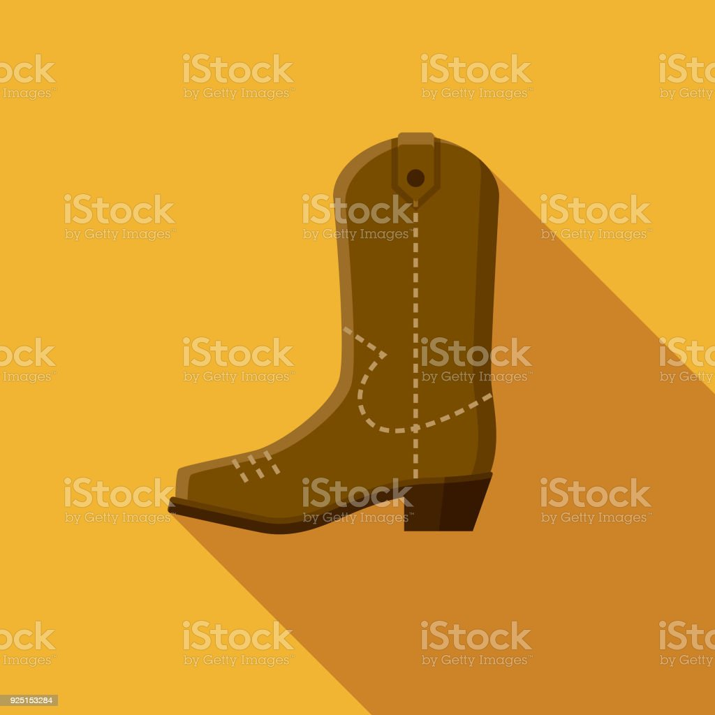Cowboy Boot Flat Design USA Icon with Side Shadow vector art illustration