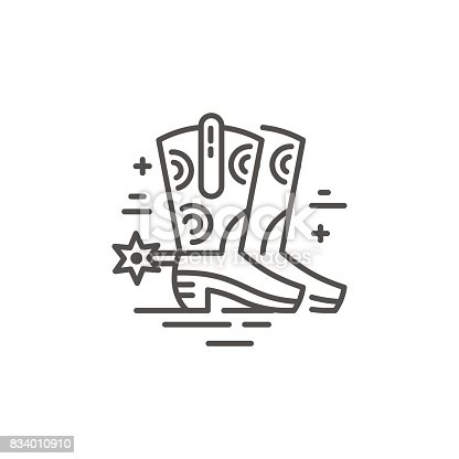Linear illustration of cowboy boots. Vector line style icon.