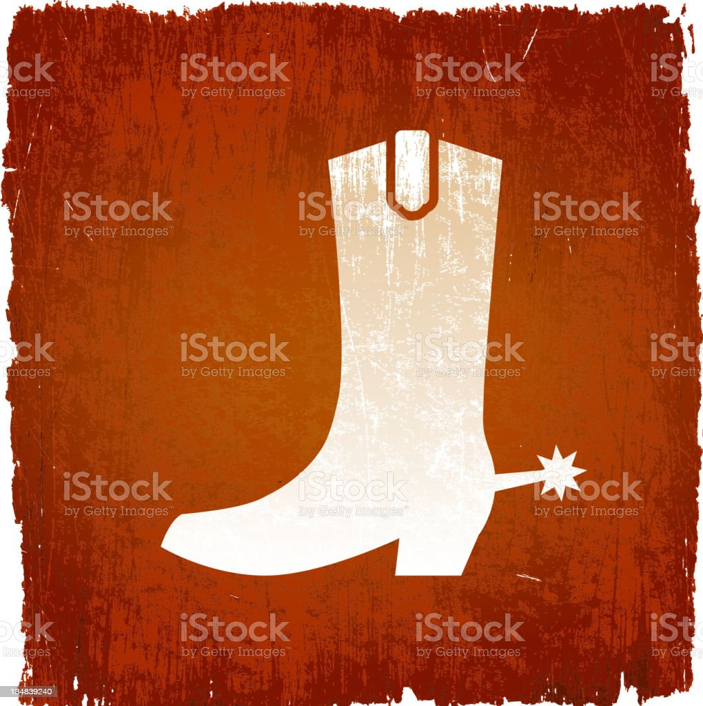 Cowboy boot on royalty free vector Background vector art illustration