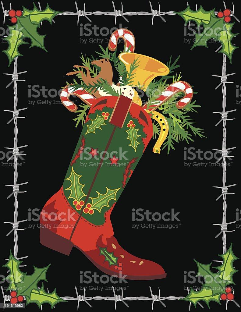 Cowboy Boot Stocking Christmas Card vector art illustration