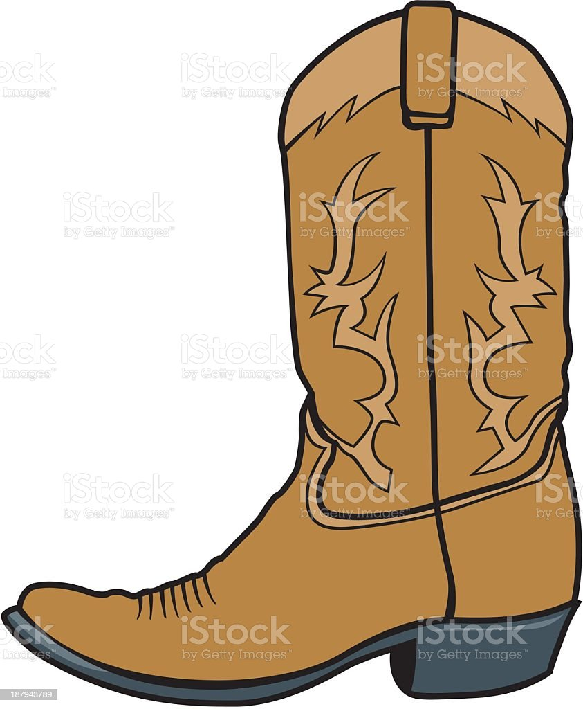 cowboy boot stock vector art more images of boot 187943789 istock rh istockphoto com clipart cowboy boots and hat clip art red cowboy boots
