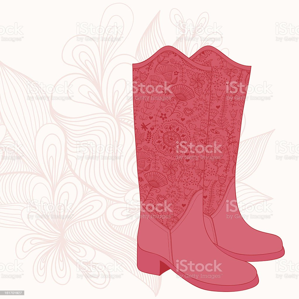 Cowboy boot with flowers ornament. royalty-free stock vector art