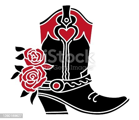 Cowboy boot with red Roses decoration. Black silhouette vector illustration isolated on white for cards or print