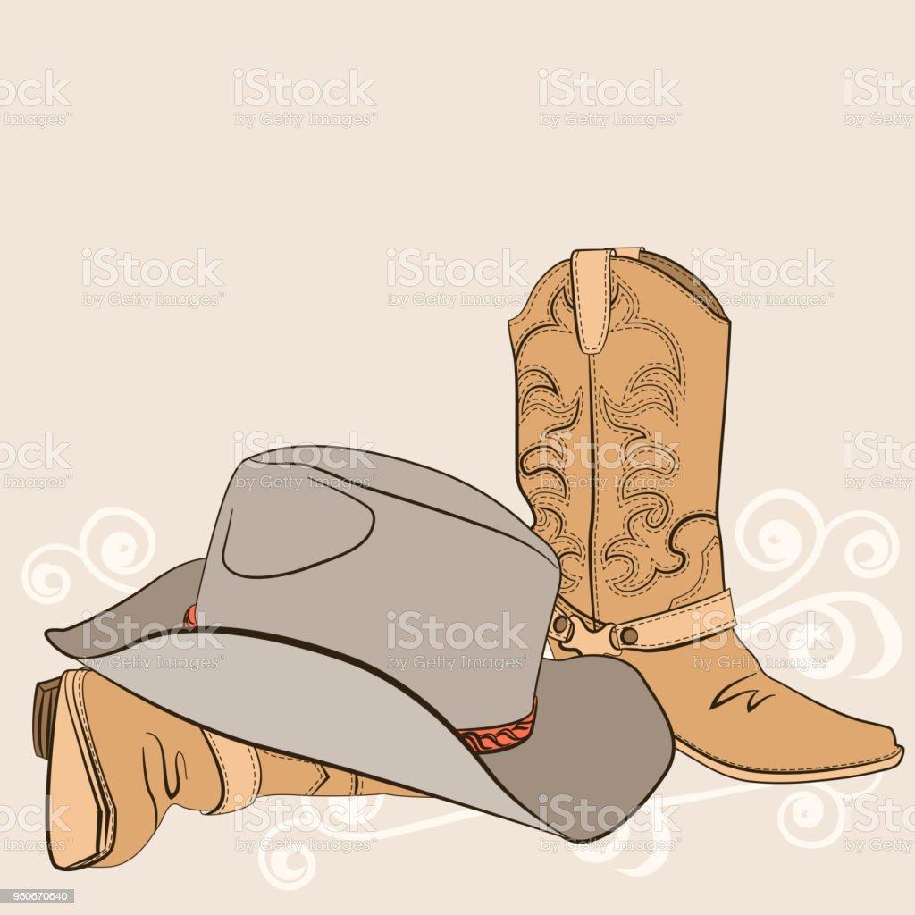 Botas vaqueras y sombrero para el diseño. Ropa occidental americano  ilustración de botas vaqueras y f0970066e80
