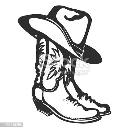 istock Cowboy boots and hat. Vector graphic illustration isolated on white for design 1199243253