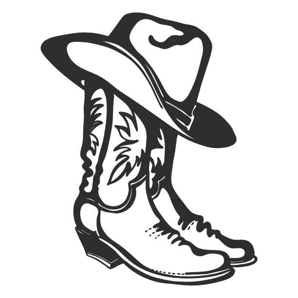 Cowboy boots and hat. Vector graphic illustration isolated on white for design Cowboy boots and hat. Vector graphic hand drawn illustration isolated on white for print or design rancher illustrations stock illustrations