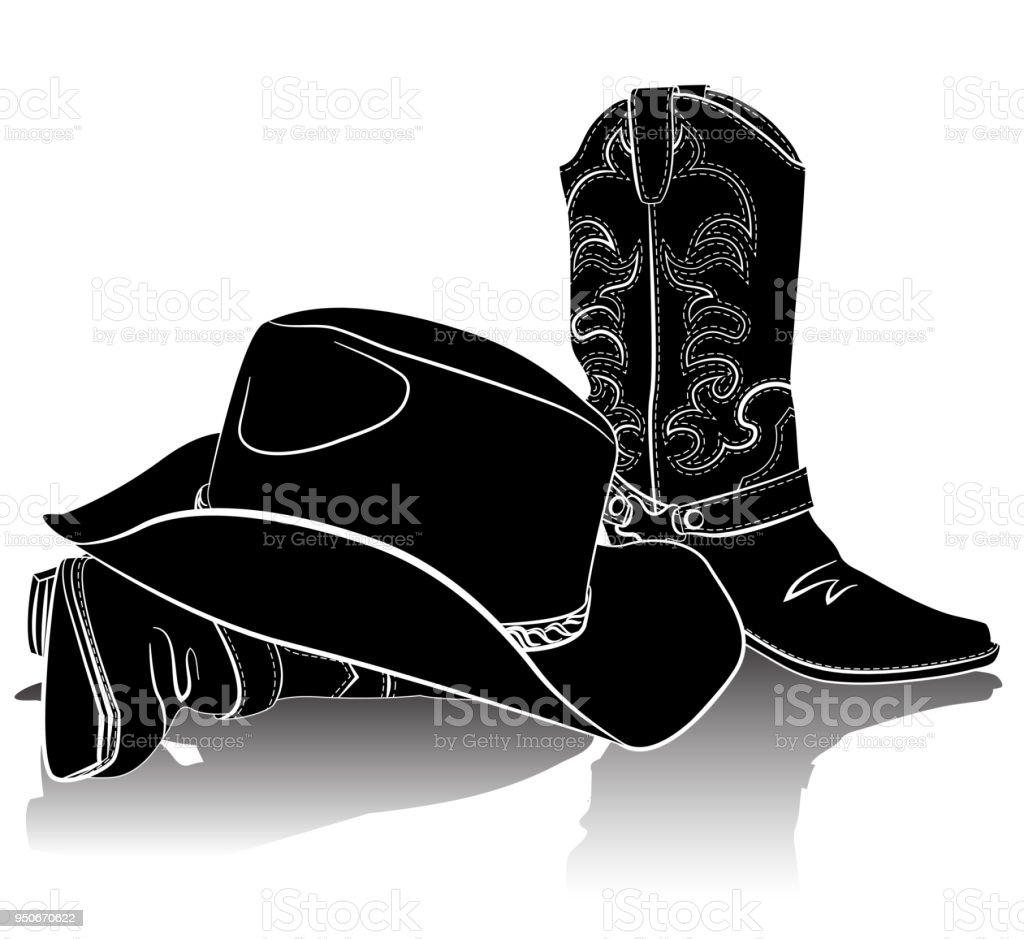 Botas vaqueras y sombrero. Fondo de vector grunge para diseño ilustración  de botas vaqueras y 536f0be3325