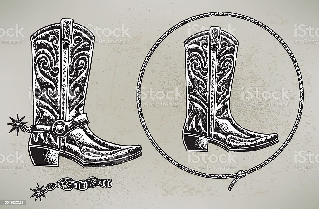 Cowboy Boots and Lasso vector art illustration