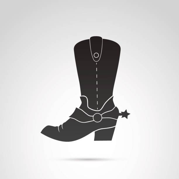 Cowboy boots icon isolated on white background. vector art illustration