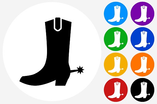 Cowboy Boots Icon on Flat Color Circle Buttons