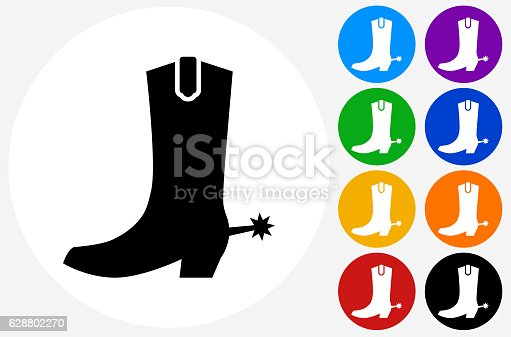 Cowboy Boots Icon on Flat Color Circle Buttons. This 100% royalty free vector illustration features the main icon pictured in black inside a white circle. The alternative color options in blue, green, yellow, red, purple, indigo, orange and black are on the right of the icon and are arranged in two vertical columns.