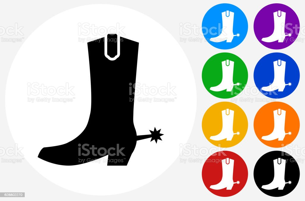Cowboy Boots Icon on Flat Color Circle Buttons vector art illustration