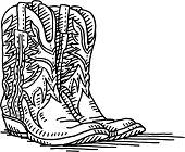 Cowboy Boots Pair Drawing