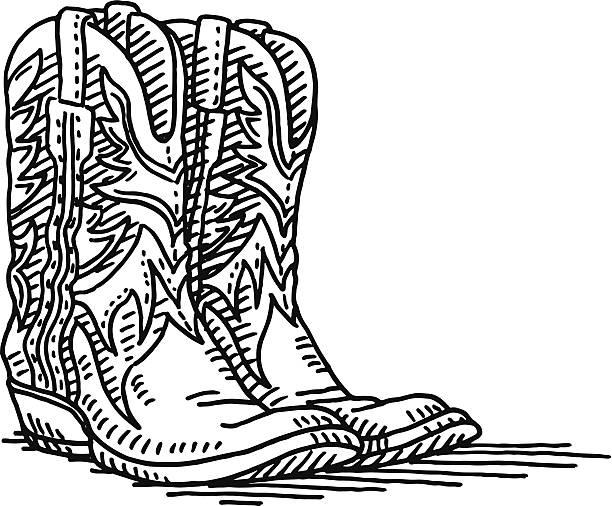 cowboystiefel paar zeichnung - cowboystiefel stock-grafiken, -clipart, -cartoons und -symbole