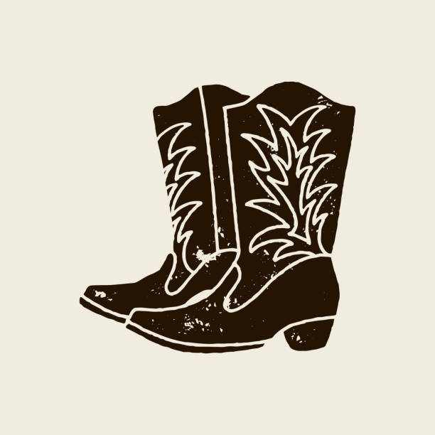 cowboy boots silhouette in retro style - boot stock illustrations