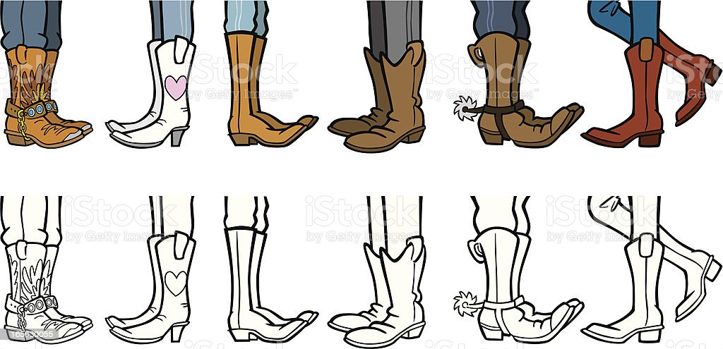Cowboy Boots vector art illustration