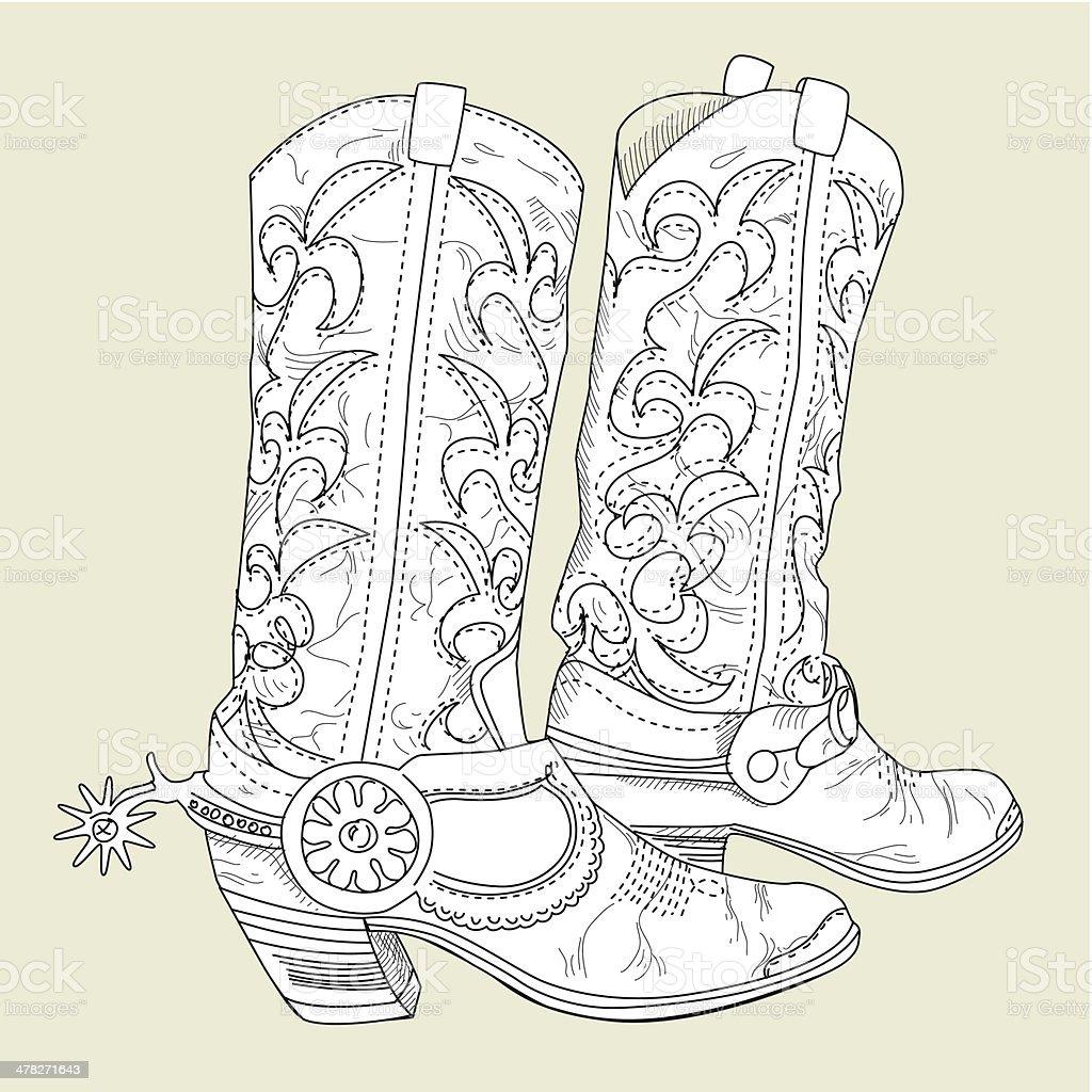 Cowboy Boots vector art illustration