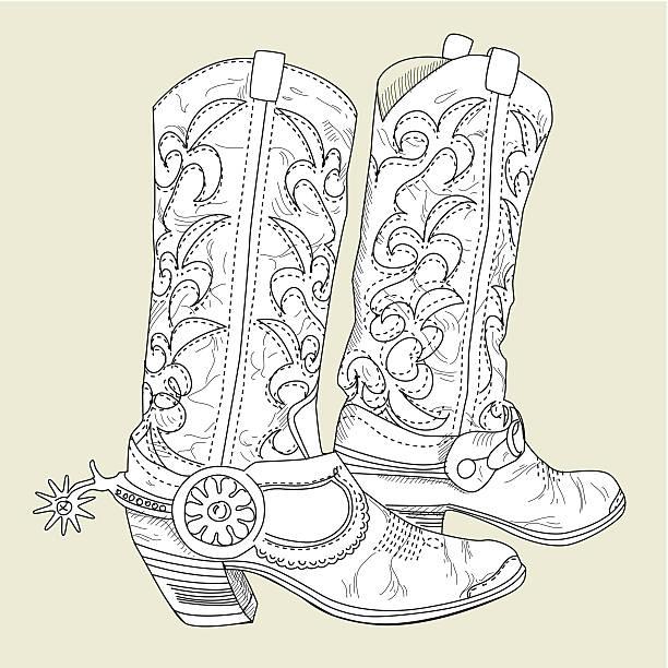 cowboy-stiefel - cowboystiefel stock-grafiken, -clipart, -cartoons und -symbole