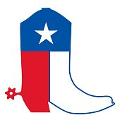 istock Cowboy boots with Texas flag decoration. Vector American symbol illustration isolated on white. 1297756815