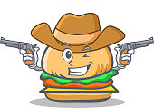 Cowboy burger character fast food vector illustration