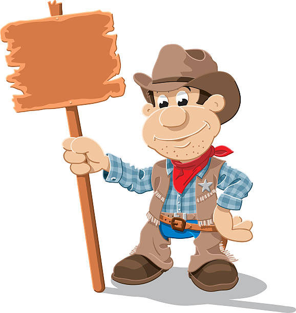 Cowboy Cartoon Man Blank Sign Isolated Vector Illustration of a cartoon cowboy, who is holding a blank wooden sign. The illustration is on a transparent background (.eps-file). The colors in the .eps-file are ready for print (CMYK). Included files: EPS (v8) and Hi-Res JPG. cartoon people sign stock illustrations