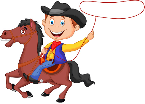 Cowboy cartoon rider on the horse throwing lasso