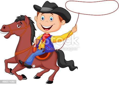 istock Cowboy cartoon rider on the horse throwing lasso 466574997
