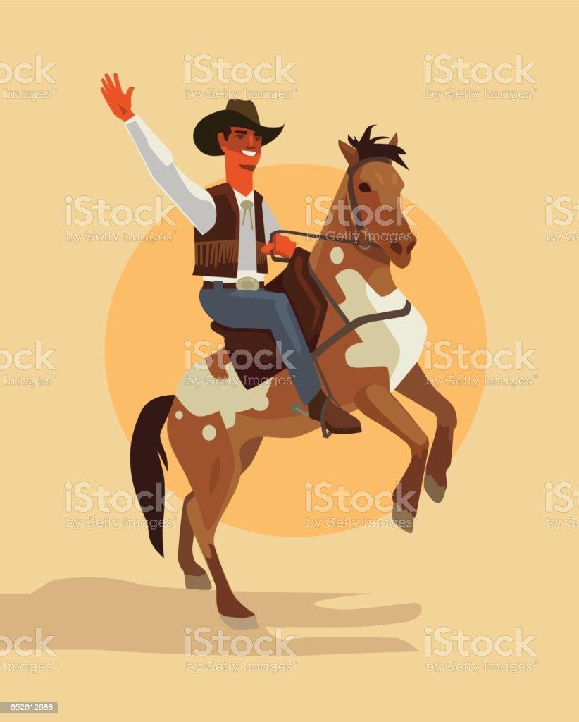 Cowboy character ride horse vector art illustration