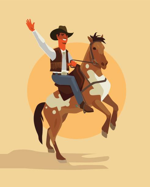 Cowboy character ride horse Vector flat cartoon illustration rancher illustrations stock illustrations