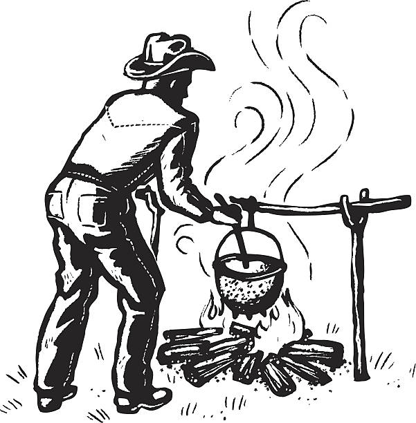 cowboy chili illustration of a cowboy cooking chili cooking competition stock illustrations