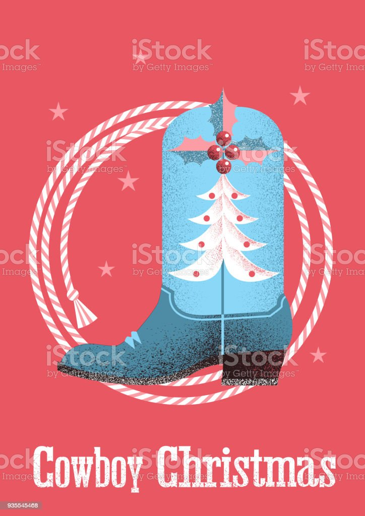 Cowboy christmas card background with western boot and lasso. vector art illustration