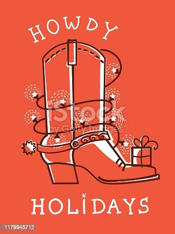 Cowboy christmas card with boot decoration. Vector red American greeting card with text